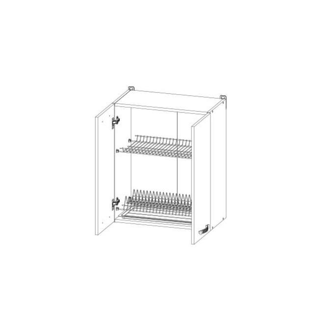 Шкаф настенный для сушки посуды «Алеся» 2D/60 - сосна винтаж