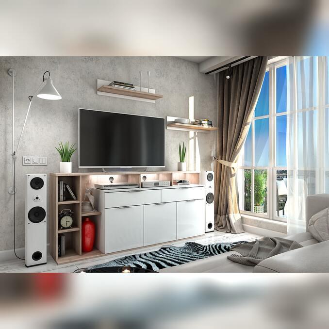 Модульная гостиная «Компакт» 3 белая