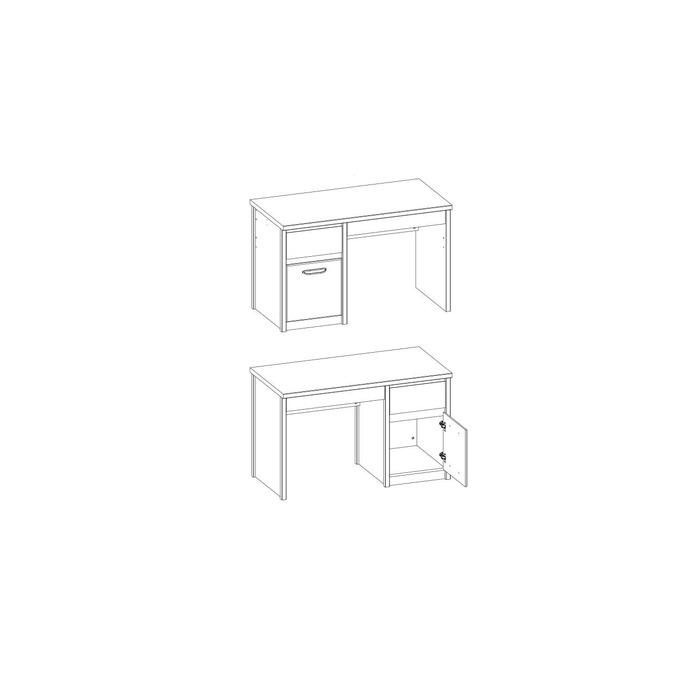 Стол письменный «Джаз» 1D2S (L-P) с тумбой
