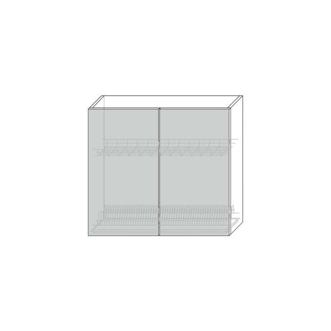 Шкаф для сушки посуды «Авеню» 2D/80 серый/светло-серый сатин