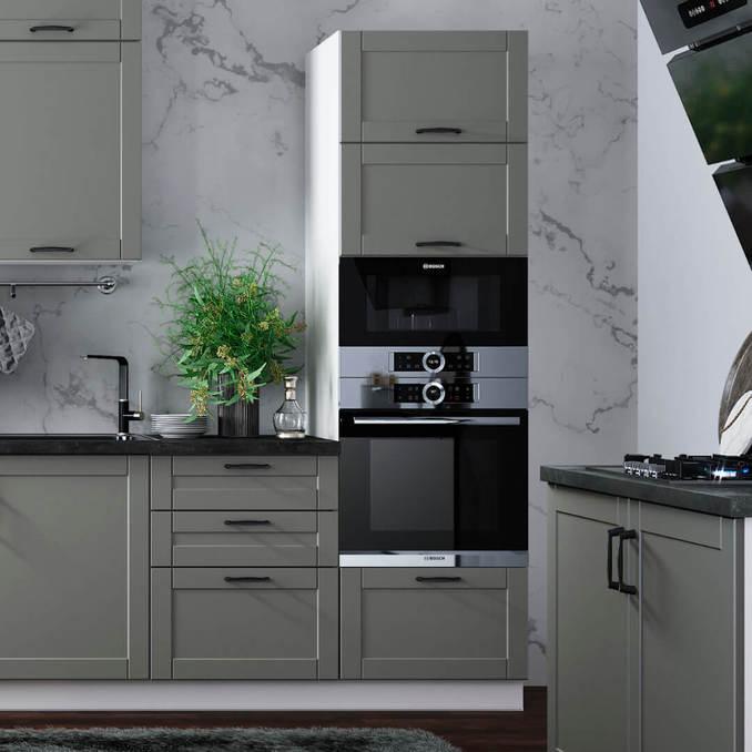 Шкаф «Авеню» 2D1S/60 белый/светло-серый сатин