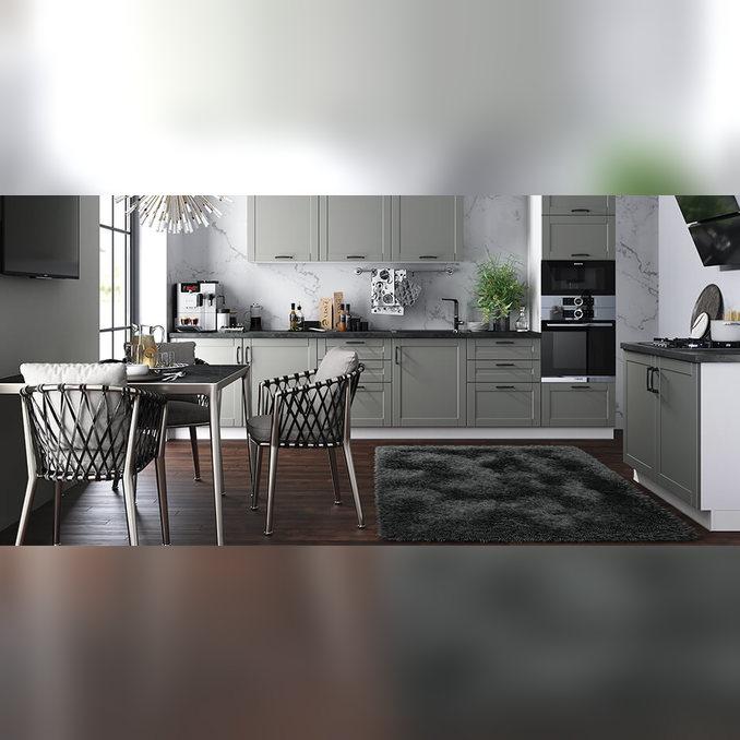 Шкаф витрина угловой «Авеню» 1VU/60-2 белый/светло-серый сатин