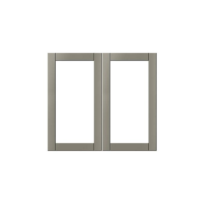 Шкаф настенный «Авеню» 2V/80-29-2 белый/светло-серый сатин