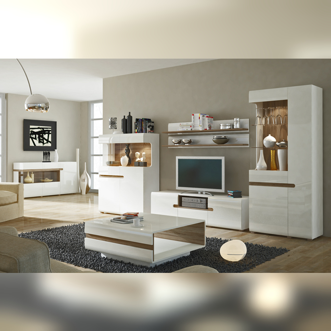 Модульная гостиная «Линате» 3 белый глянец