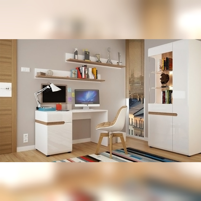 Стенка-горка + стол «Линате» белый глянец