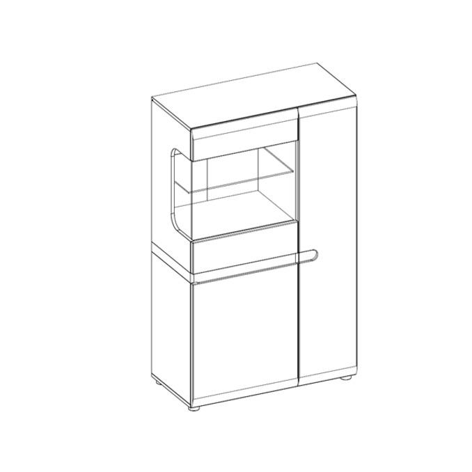 Шкаф с витриной «Линате» 3D-1S/TYP 32 белый глянец