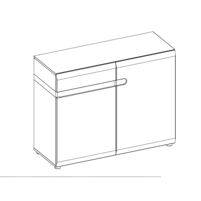 Комод «Линате» 2D-1S/TYP 35 белый глянец