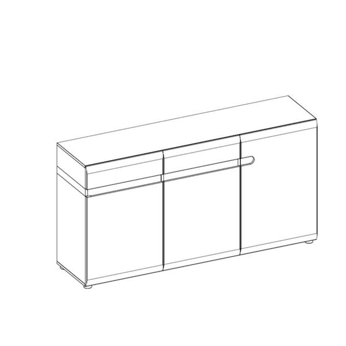 Тумба-комод «Линате» 3D-2S/TYP 40 белый глянец