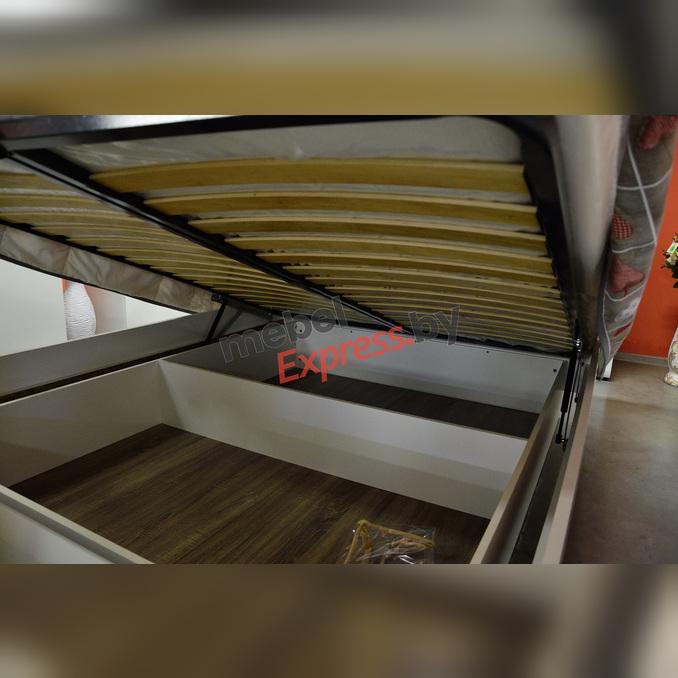 Кровать «Линате» 160 двуспальная с подъемником - белый глянец