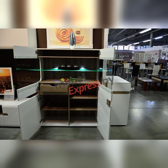 Шкаф с витриной «Линате» 3D-1S/TYP 33 белый глянец