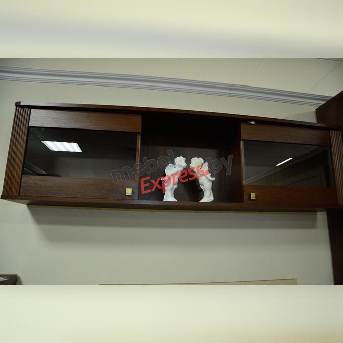 Полка настенная «Милан» застекленная 2D 148 см - орех