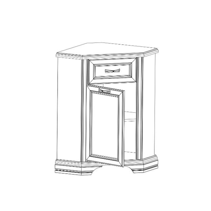 Шкаф-витрина «Монако» угловой 1VU + 1D1SU
