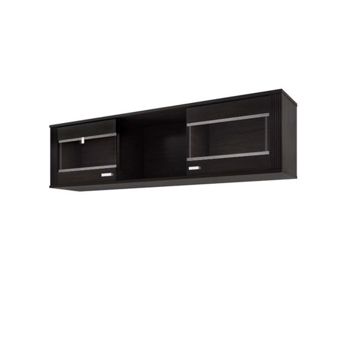 Полка настенная «Монте» застекленная 2D 148 см - венге темный