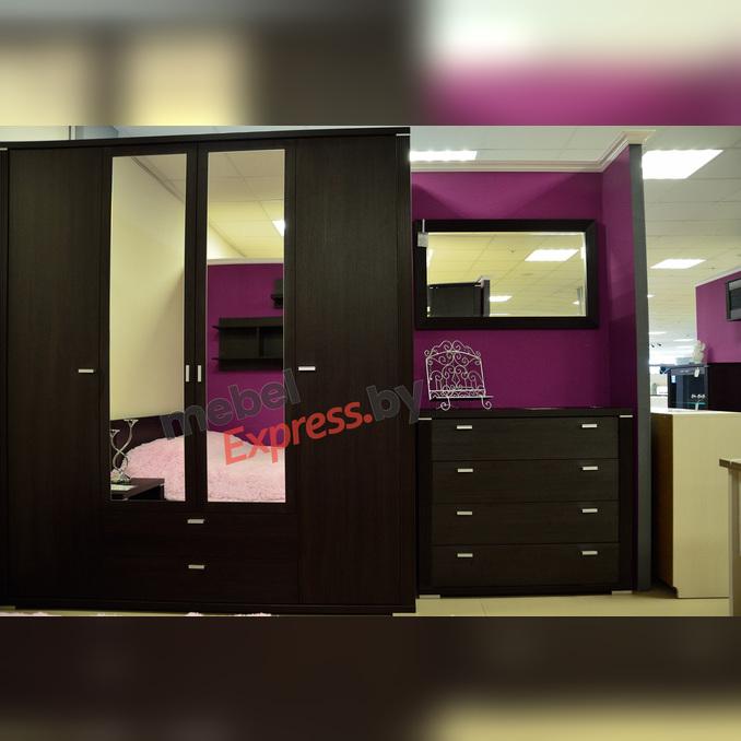 Шкаф «Монте» 4D2S Z 4 дверный с зеркалом - венге темный
