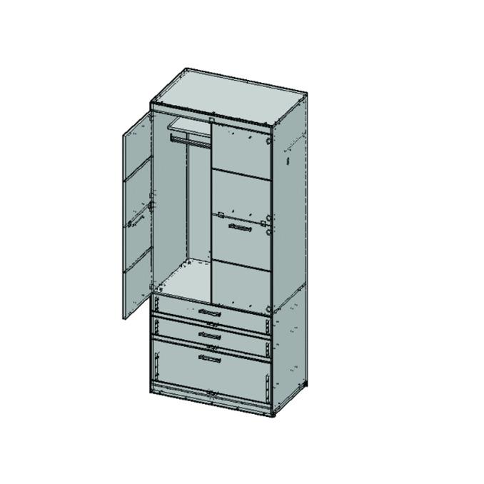 Шкаф «Оскар» 2D3S двухстворчатый с ящиками - светлый