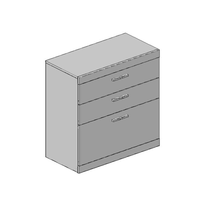 Комод «Оскар» 3S 3 ящика 80 см - светлый