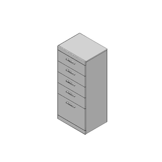 Комод «Оскар» 5S/50 узкий высокий 5 ящиков - светлый
