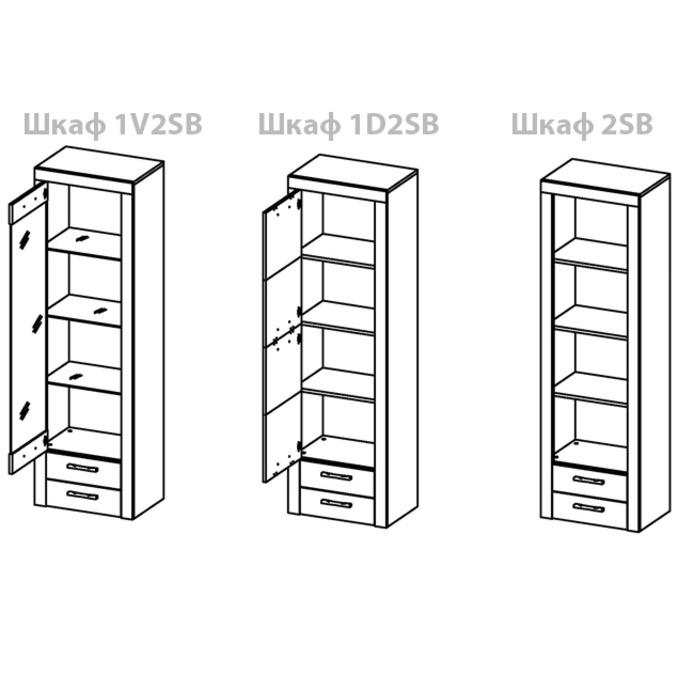 Шкаф-витрина «Оскар» 1V2SB верхний с полками и ящиками - светлый