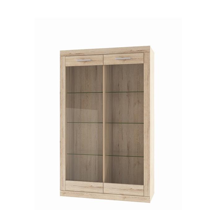 Шкаф-витрина «Оскар» 2V стеклянные двери - светлый
