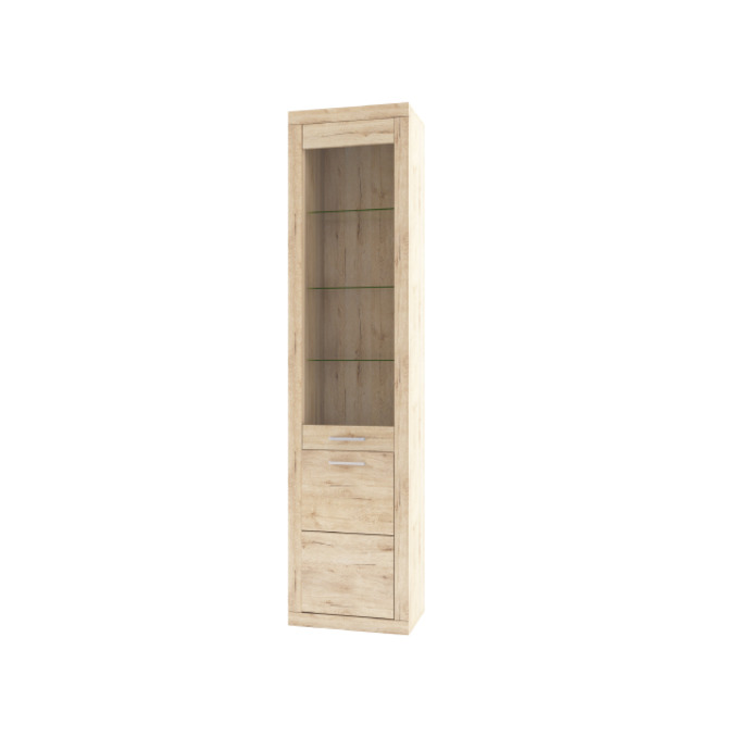 Шкаф-витрина «Оскар» 1D1V стеклянная дверь - светлый