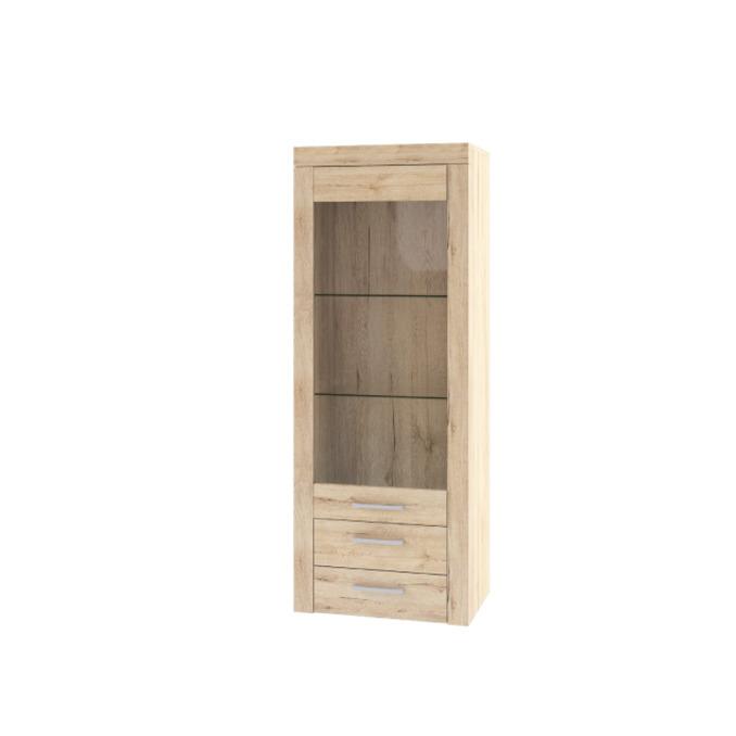 Шкаф-витрина «Оскар» 1V2SL верхний с полками 52 см - светлый