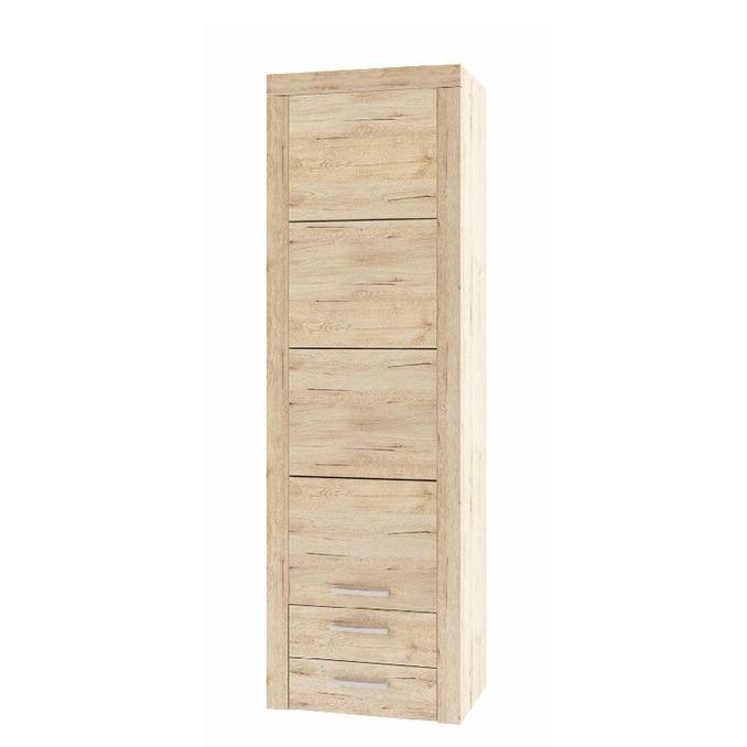 Шкаф «Оскар» 1D2SB верхний одностворчатый с полками и ящиками - светлый