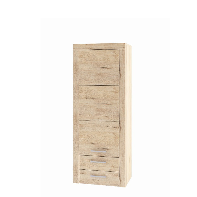 Шкаф-пенал «Оскар» 1D2SL с полками и ящиками - светлый