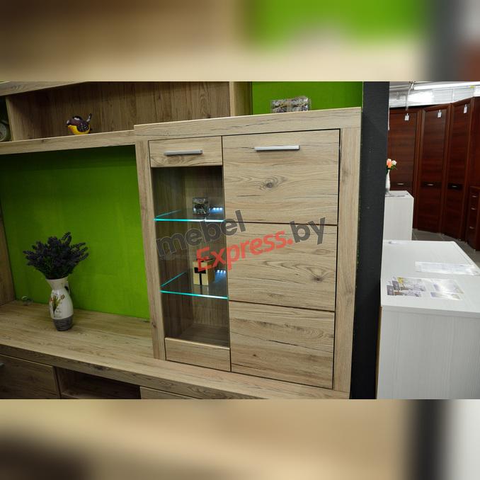 Шкаф-витрина «Оскар» 1V1D верхний комбинированный - светлый