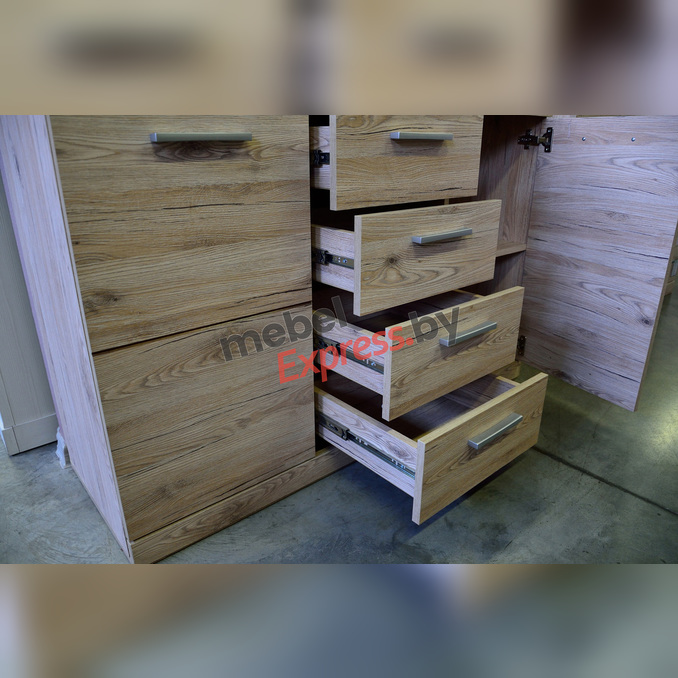 Тумба-комод «Оскар» 2D4S с ящиками 120 см - светлая