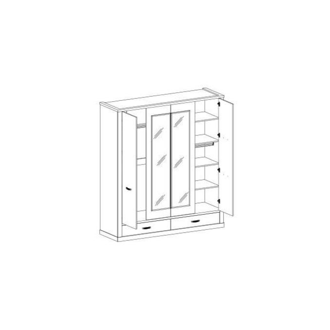 Шкаф трехстворчатый «Прованс» 4DG2SZ с зеркалом - белый