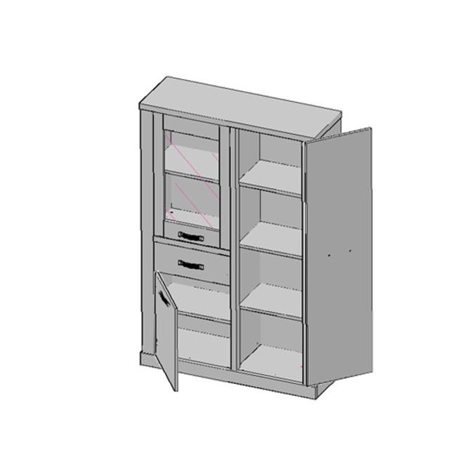 Шкаф витрина «Прованс» 1V2D1S