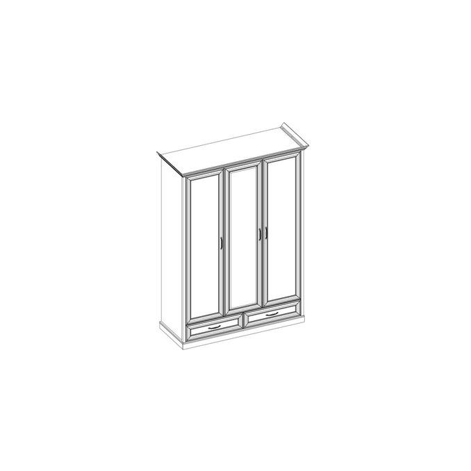 Шкаф «Тейлор» 3DG2S Z трехстворчатый с зеркалом - белый