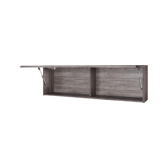 Полка «Тиффани» 1V навесная с витриной - орех элия темный