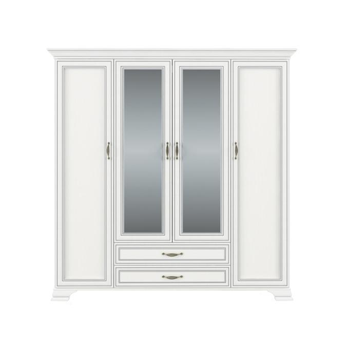 Шкаф «Тиффани» 4D2S Z четырех створчатый с зеркалом белый